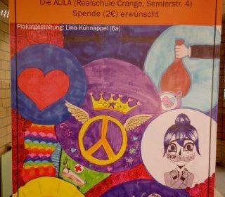 Ankündigug Tanttheater der Erich-Fried-Gesamtschule 2020 gezeichnet von einer Schülerin des 6. Jahrgangs.