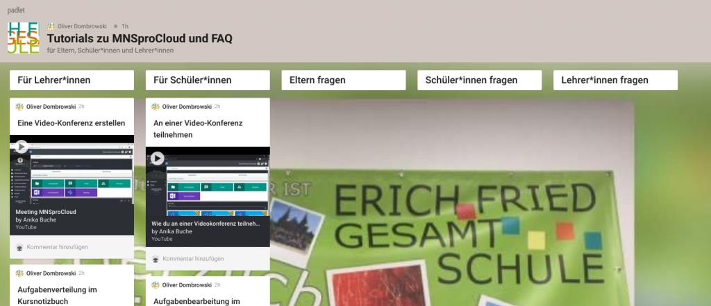 Das Bild zeigt ein padlet für Tutorials and FAQ zu MNSproCloud der EFG Herne.